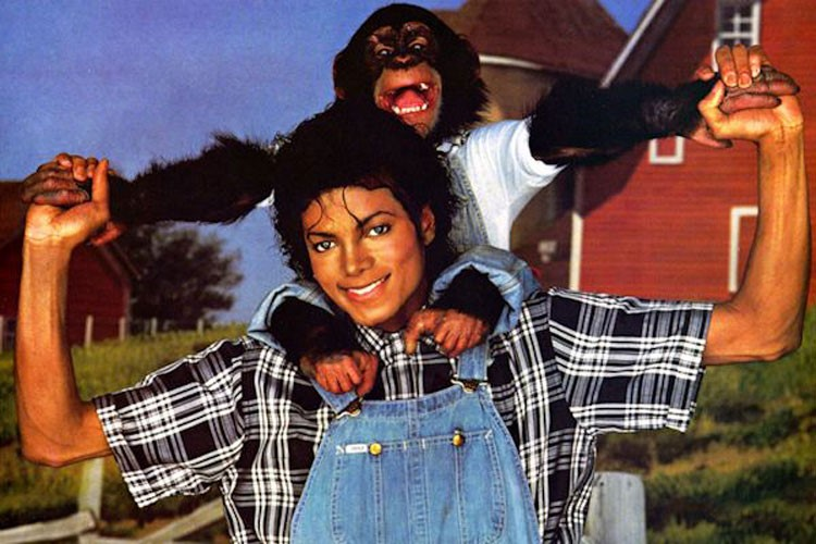 Майкл Джексон и его шимпанзе Бабблз