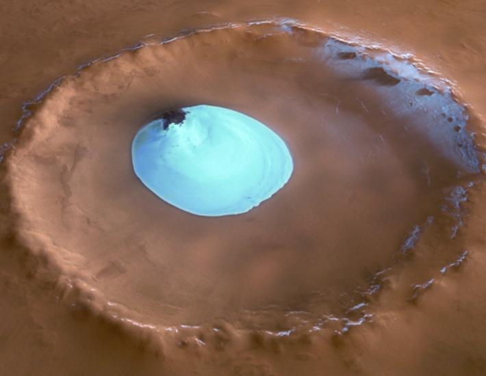 Лед в кратере на Марсе
