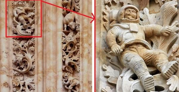 Астронавт на стене старинного собора